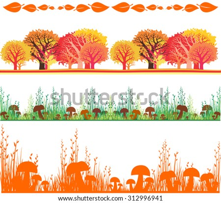 autumn set. Collection of design elements vintage set isolated on White background. Vector illustration  - stock vector