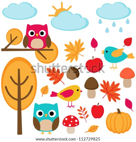 Autumn set  - tree, leafs, mushrooms and birds - stock vector