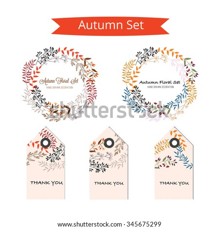Autumn set , Wedding graphic set, flowers, ribbon, floral vector element. - stock vector
