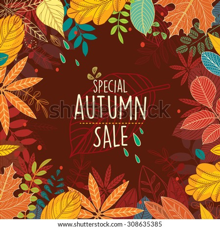 Autumn special sale poster with leaves - stock vector