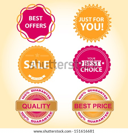 autumn stickers for business - stock vector