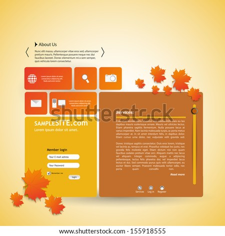 Autumn Style Website design vector. - stock vector