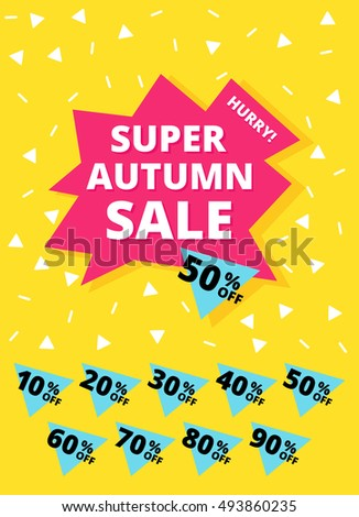 Autumn summer sale banner. Hurry One day deal, special offer, big sale, clearance. Editable Bright Stock Vector Illustration. Yellow Pink Blue White Black