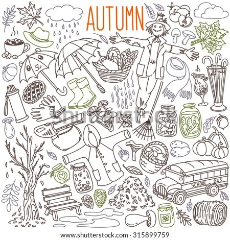 Autumn themed doodle set. Traditional symbols: rain, clouds, fallen leaves, raincoat, rain boots, umbrellas, mushrooms, fall harvest. Freehand vector drawing isolated over white background.