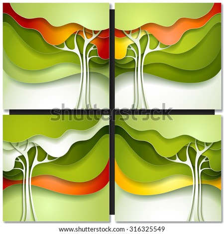 Autumn tree. Abstract paper design nature background. - stock vector