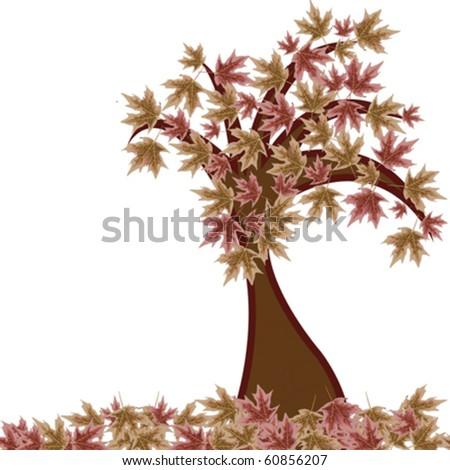 autumn tree against white background, abstract vector art illustration - stock vector