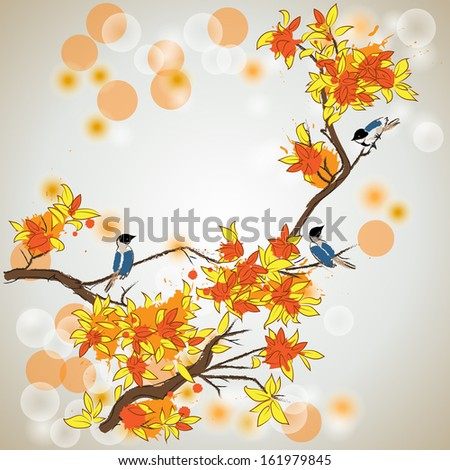 autumn tree and birds  - stock vector