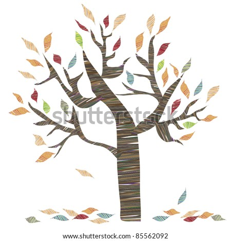Autumn tree and leaves - stock vector