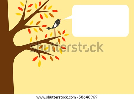 Autumn tree and little bird with word bubble for your text, vector illustration - stock vector