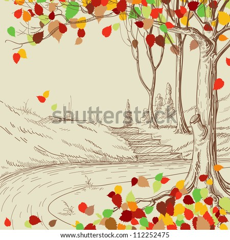 Autumn tree in the park sketch, bright leaves falling - stock vector