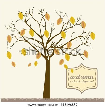 autumn tree over grass, vintage style. vector illustration - stock vector
