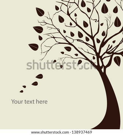Autumn tree silhouette over white background vector illustration - stock vector