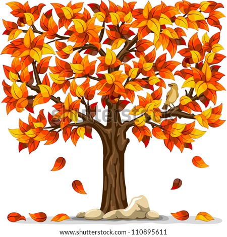 Autumn tree with bird isolated on white background - stock vector