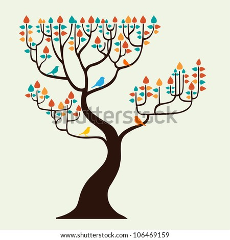 Autumn tree with birds - stock vector