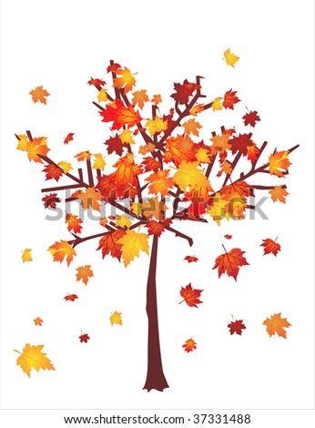 Autumn tree with falling leafs - stock vector