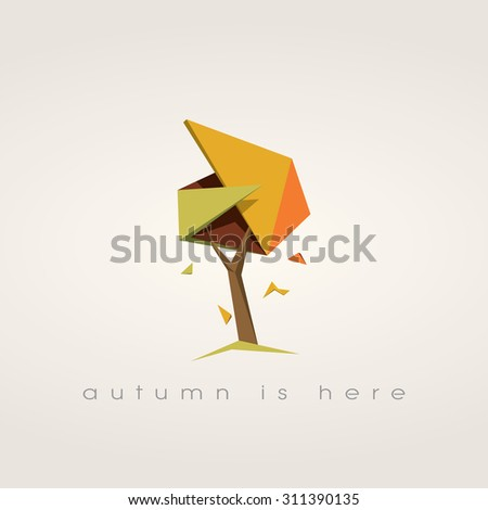 Autumn tree with falling leaves. Low poly vector background. Foliage symbol of fall. Eps10 vector illustration. - stock vector