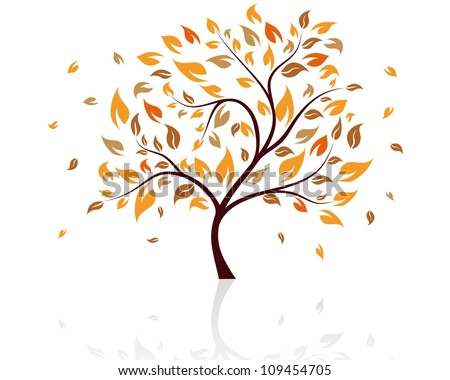Autumn Tree With Falling Leaves on White Background. Elegant Design with Text Space and Ideal Balanced Colors. Vector Illustration. - stock vector