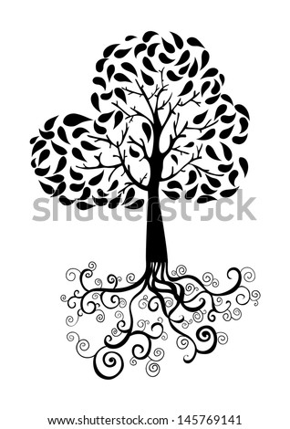 Autumn tree with roots and foliage silhouette. Vector file layered for easy manipulation and custom coloring. - stock vector