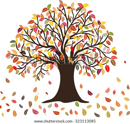 Autumn Tree with the colorful falling leaves, isolated on white