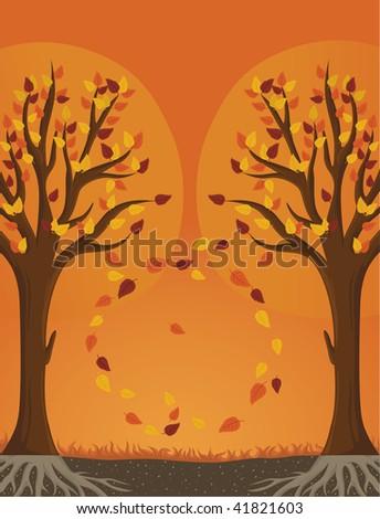 Autumn trees - stock vector