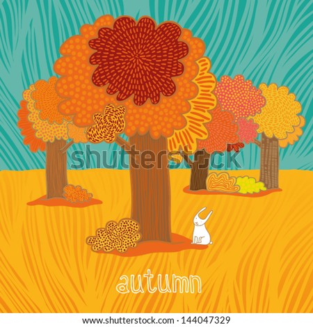 autumn trees and bunny background - stock vector