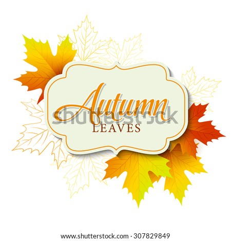 Autumn typographic. Fall leaf. Vector illustration EPS 10 - stock vector