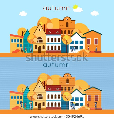 Autumn urban landscape, the rain and sunny weather. 2 banners. Flat design vector illustration. - stock vector