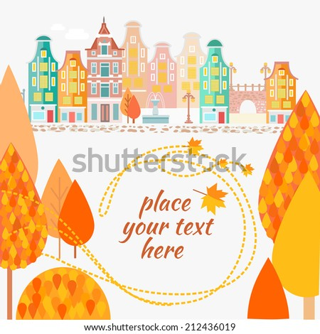 Autumn urban landscape with flying foliage and place for your text. Vector illustration - stock vector