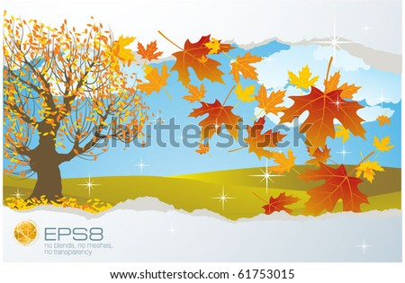 Autumn vector abstract with falling maple leaves. - stock vector