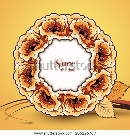 Autumn vector background, save the date card, decorative circle frame, dried flowers, floral wreath, eps10 - stock vector
