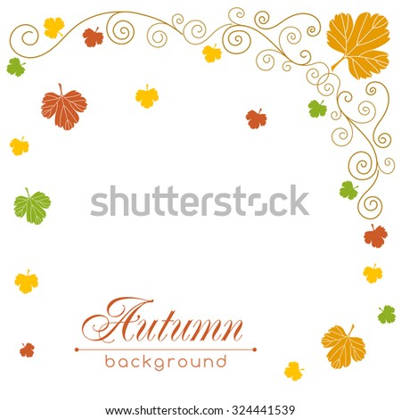 Autumn vector background with hand drawn leaves and curly design elements. Greeting card template. Place for your text.