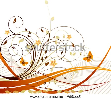 Autumn vector floral background - stock vector
