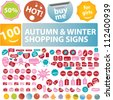 autumn & winter sales tags, stickers, labels, signs set, vector - stock vector