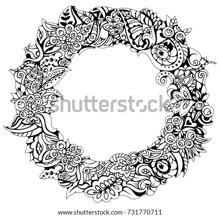 Autumn Wreath Coloring Book Page Greeting Invitation Card Round Frame Zentangle Art