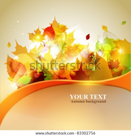 Autumn yellow background with place for text. - stock vector