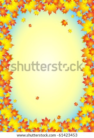 Autumnal background, frame of autumn leafs , all parts closed, editing is possible - stock vector