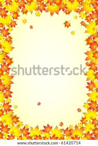Autumnal background, frame of autumn leafs. Vector illustrations.