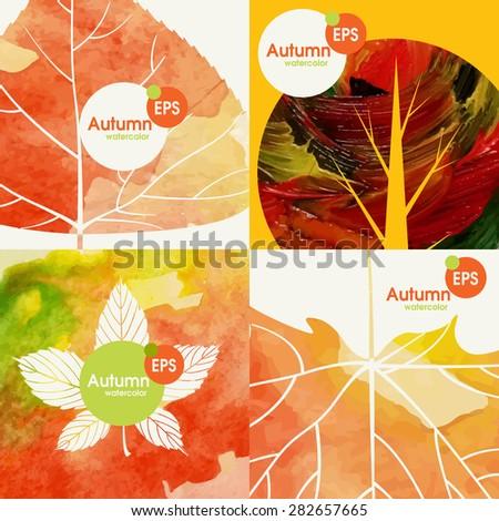 Autumnal Background Set. Vector Illustration. Eps 10 - stock vector