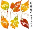 Autumnal discount. Vector fall leaves - stock photo