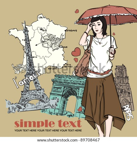 Autumnal fashion girl in sketch-style on a french-background. Vector illustration.