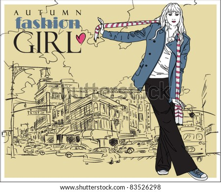 Autumnal fashion girl on a city-background. Vector illustrator. - stock vector