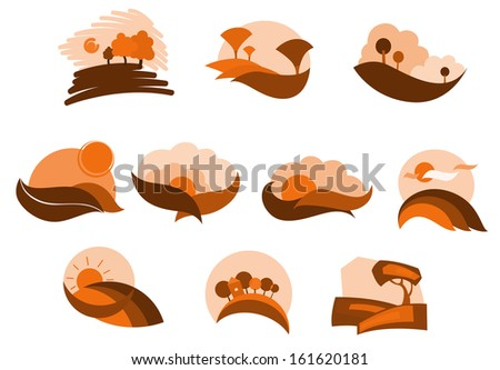 Autumnal nature icons and symbols for seasonal design or idea of logo. Jpeg version also available in gallery - stock vector