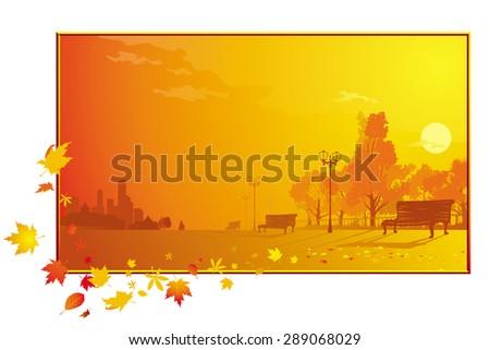 autumnal park - stock vector