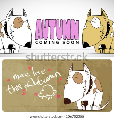Autumnal vector card with funny cartoon doggy and text. - stock vector