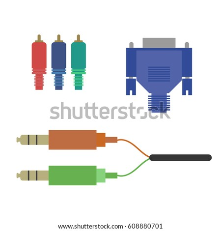 Aux Vga Component Cable On White Stock Vector 608880701 Shutterstock