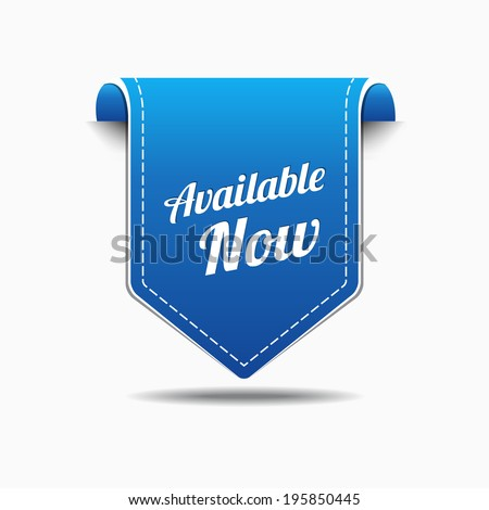 Available Now Blue Label Icon Vector Design - stock vector