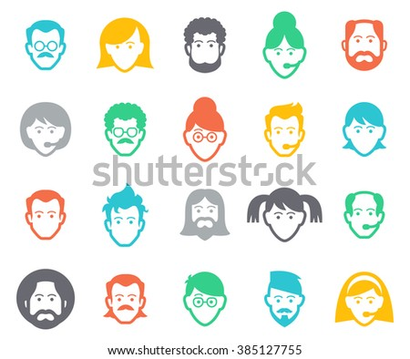 Avatar and people icons. Collection of people avatars for profile page, social network, social media, different age man and woman characters, professional human occupation, portfolio. - stock vector