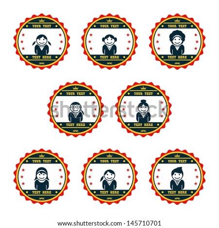 avatar badge graphic art woman set - stock vector