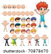 Avatar boy, vector illustration, isolated objects.  All the elements adapt perfectly each others. Larger character on the right is just an example. 5 eyes, 7 mouths, 15 hair and 7 clothes. Enjoy!! - stock vector