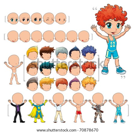 Avatar boy, vector illustration, isolated objects. All the elements adapt perfectly each others. Larger character on the right is just an example. 5 eyes, 7 mouths, 15 hair and 7 clothes. Enjoy!!